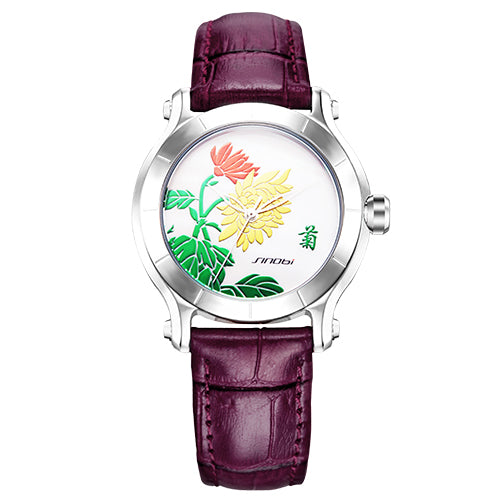 Flower Design Leather Belt Quartz-watch