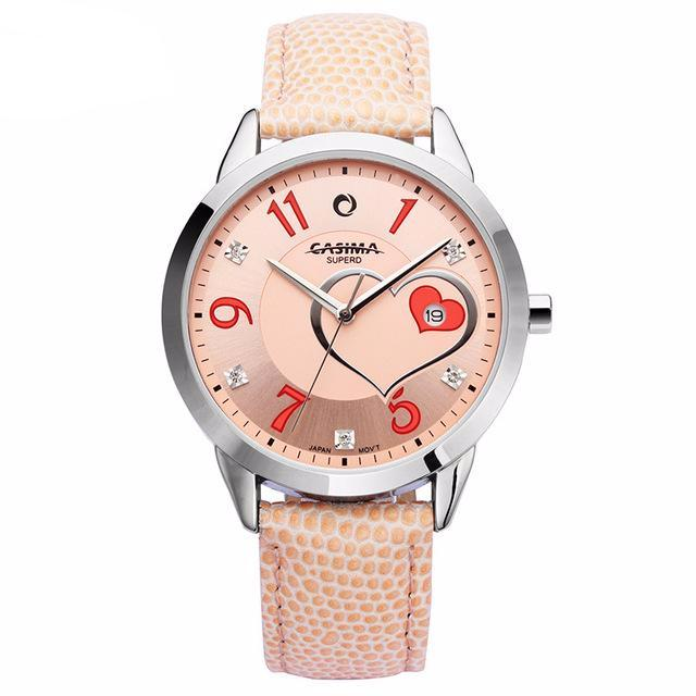 Fashion Red Rose Love Heart-shaped Pattern women watch - buyaddict