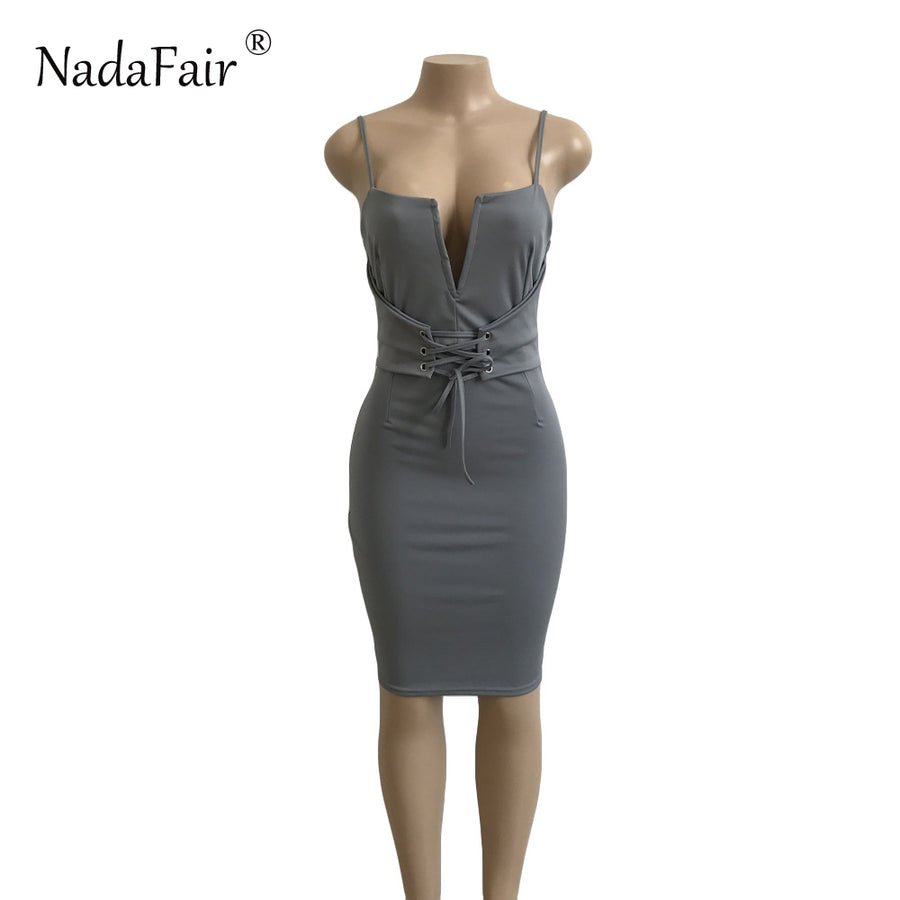 V Neck  Bodycon Bandage Dress Midi Party Dress