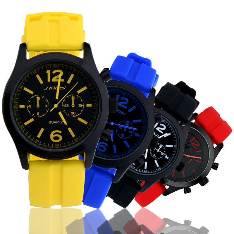 Casual Geneva Quartz Watch  Silicone Strap Montre