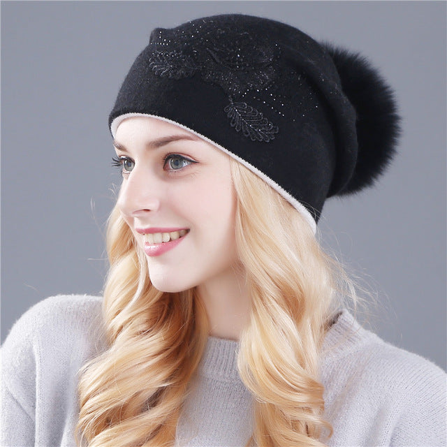 real fox fur and winter wool knitted hat
