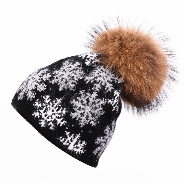 real mink hat wool for women