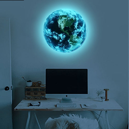 Hot sale New Luminous blue earth Cartoon wall sticker Home decor Living Room - buyaddict