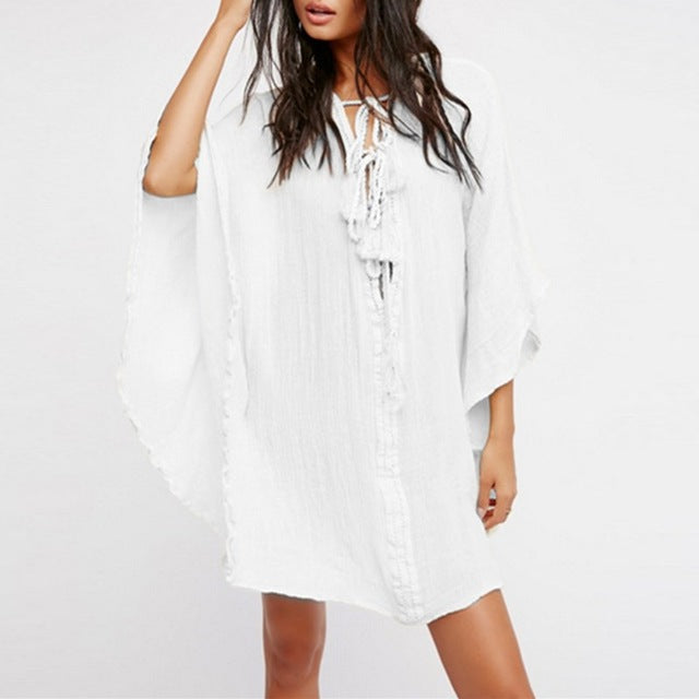 Summer Lace Up Plunge V Neck dress