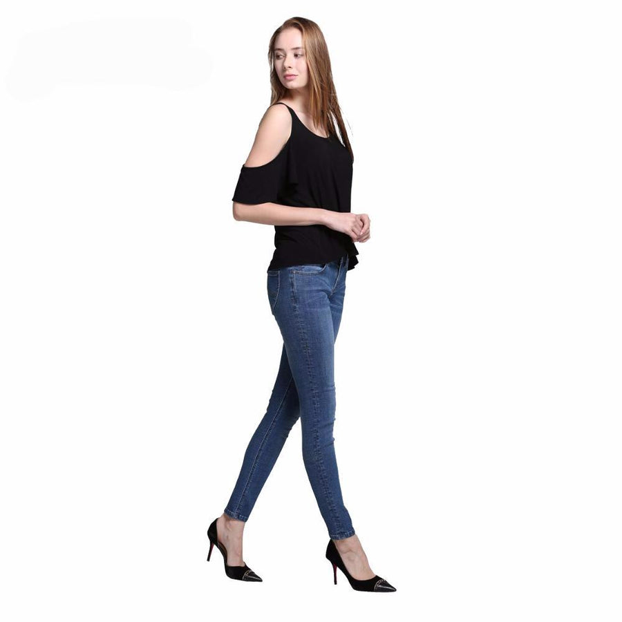 Stretch Skinny  Jeans Mid Waist Female Pants Shortened