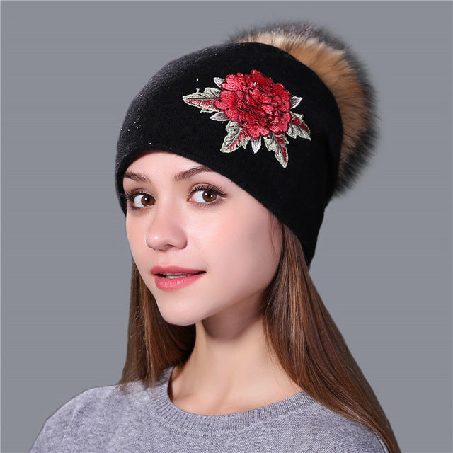 winter hat for women wool knitted real mink fur