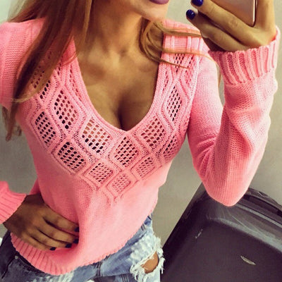 Casual Geometric V Neck Hollow Out Spring Tops