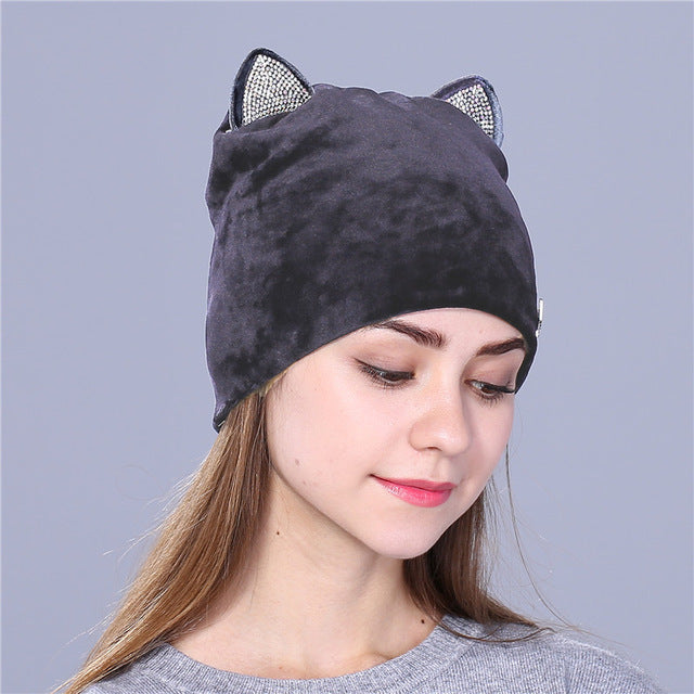 cute cat children beanies hat for girls Skullies gorras