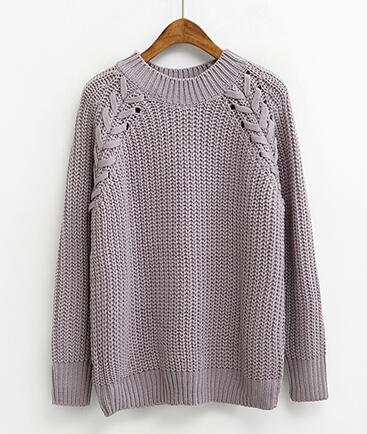 Casual Solid Color O-Neck Twist Sweater