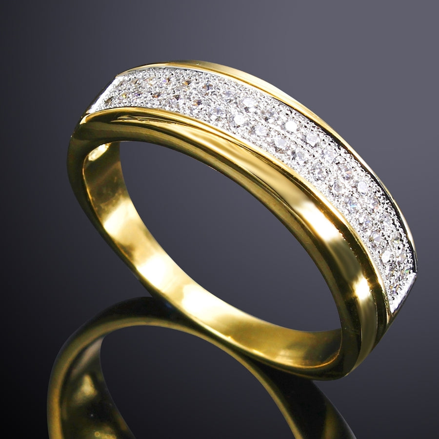 Wedding Band Ring 2 Tones Gold Color Sparkling CZ Jewelry Gift