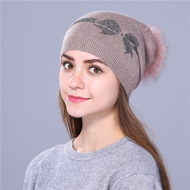 Wool Knitted winter hat for women
