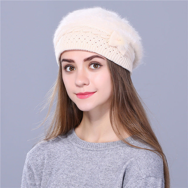 beret hat for women knitted hat Rabbit fur beret