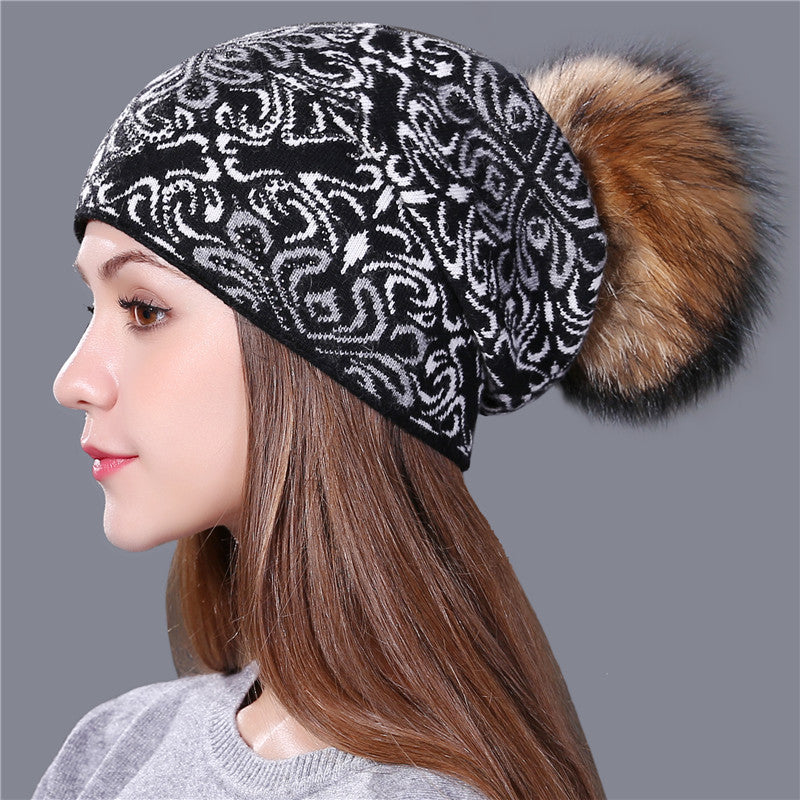 style wool Knitted winter Hat for Women