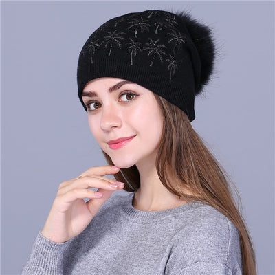 Coconut tree Women winter hat wool