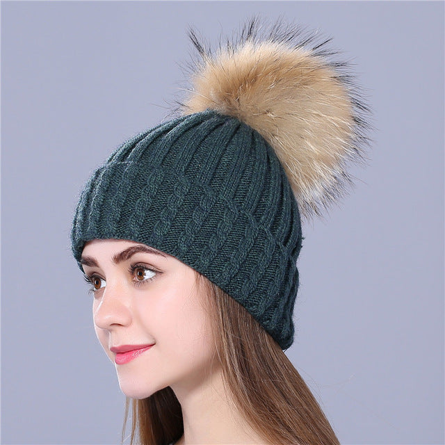 Winter Wool Knitted Hat for women