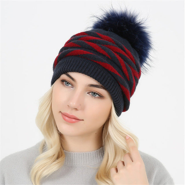 Rabbit fur Knitted winter hat for women Real Fur