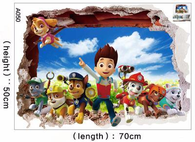 3D Cartoon Paw Patrol Snow Slide Wall Sticker For Kids Rooms