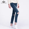 holes knee navy blue cotton denim jeans pants