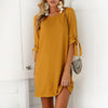 Short Dress Women Elegant O Neck Half Sleeve - buyaddict