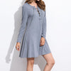 Autumn Dress Long Sleeve O Neck Lace Up A Line Mini