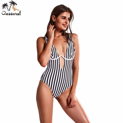 bathing suit  One piece swimsuit Striped Brazil Sexy swimsuit