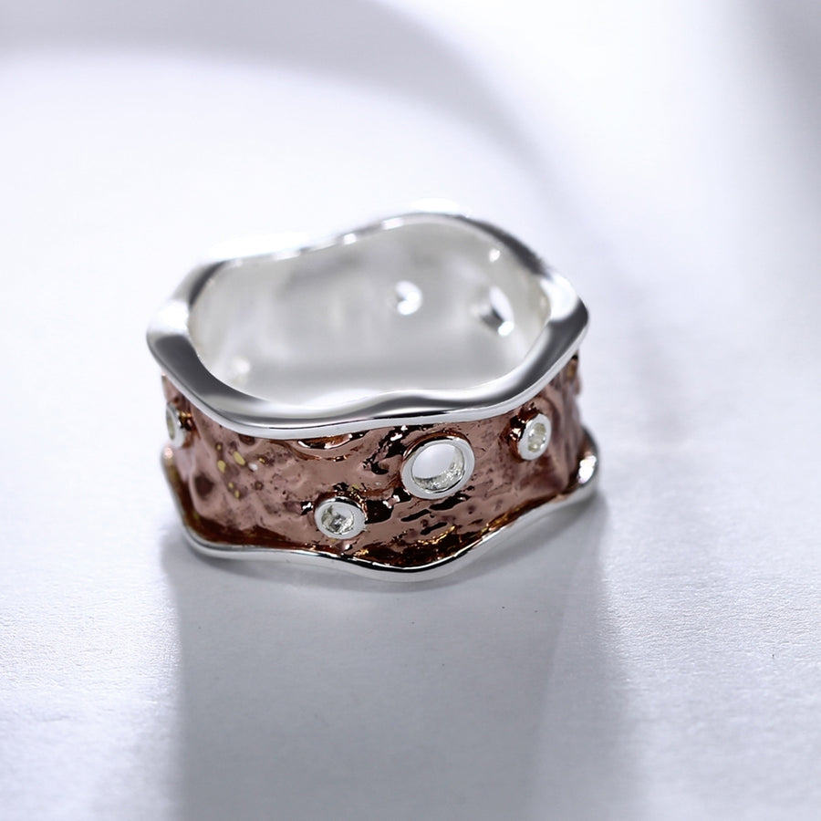 Unique Hip Hop Band Ring Rose Gold Color  Wedding Parties