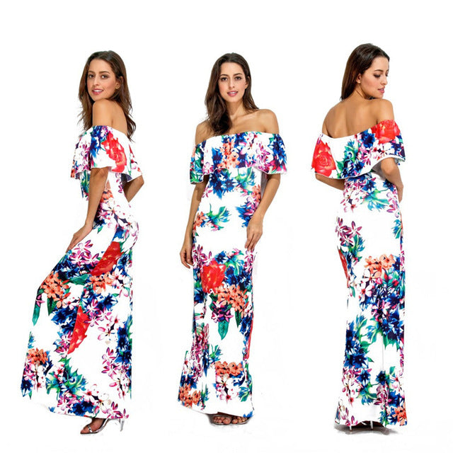 Casual Maxi Dress Ropa Mujer Vintage