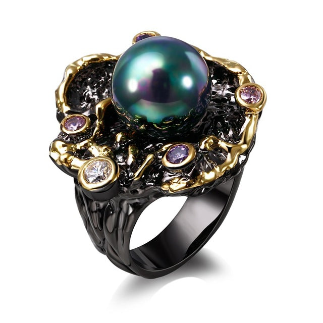 Bague Black Gold Color Anillos Mujer Created AB Effect Pearl