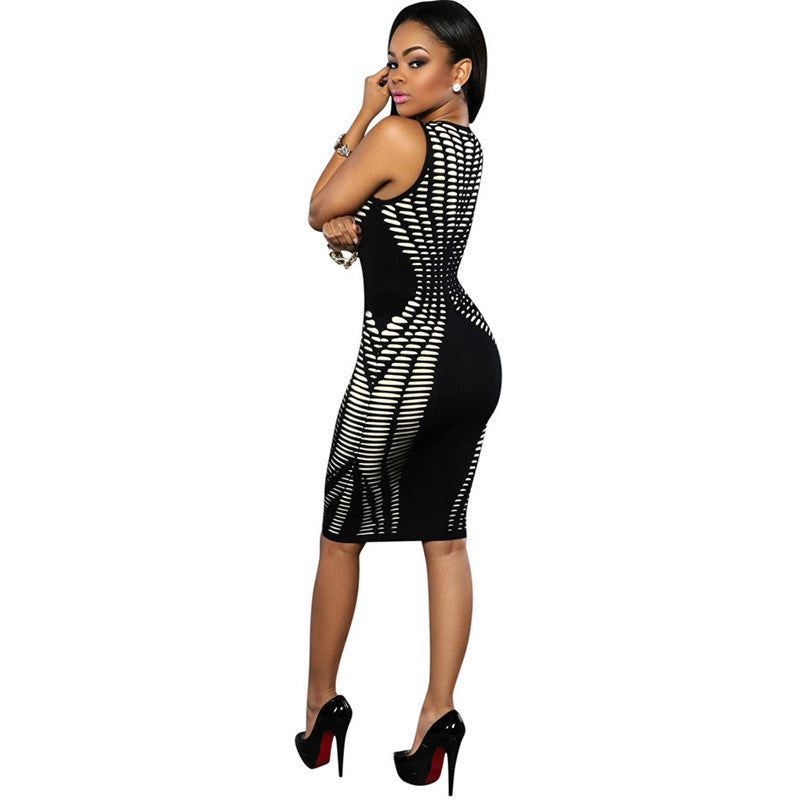 Elegant Ladies Vestidos Party Club Midi Bodycon Dress