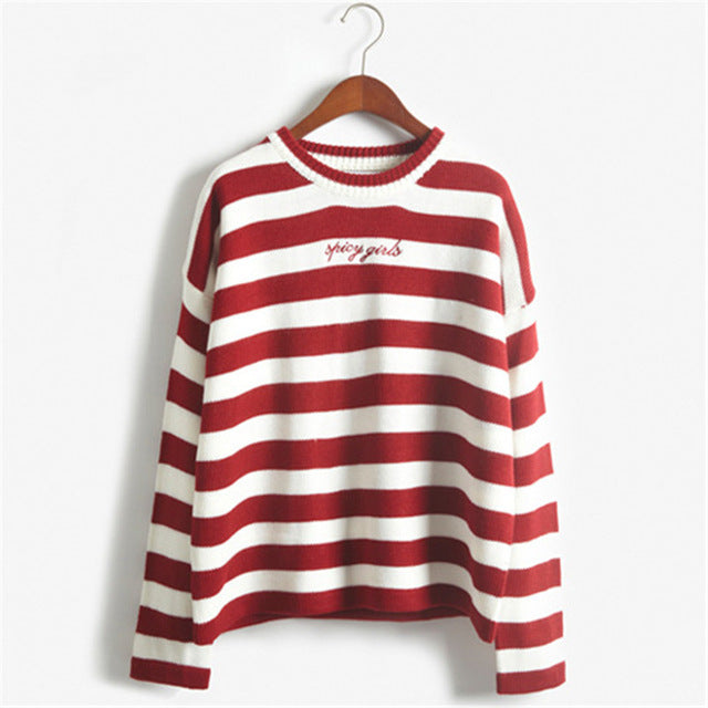 Korean Cute Striped women Sweater - buyaddict