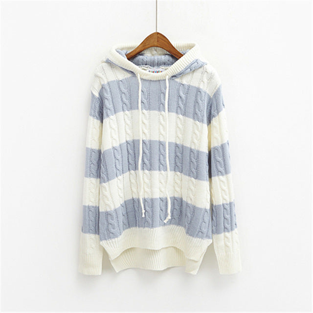 Women Hooded Striped Pullover Sweater