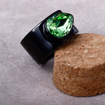 Big Drop Shape Green CZ Stainless Steel Engagement Jewels