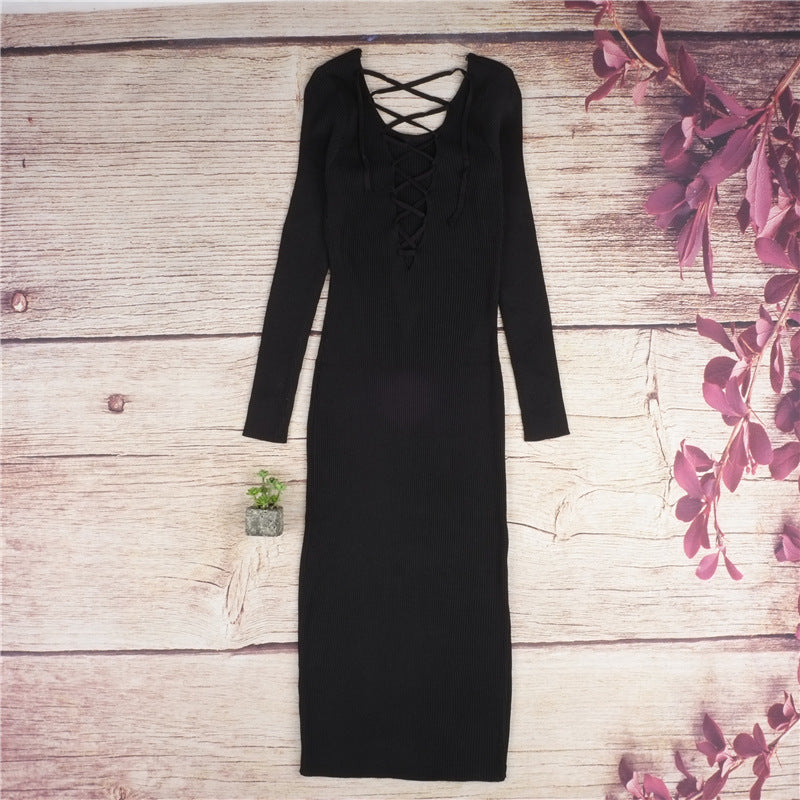 Casual  Long Sleeve O-neck Slim Knee-Length Bodycon Dress