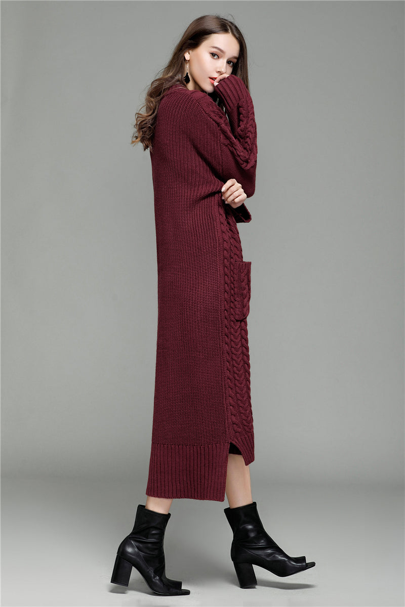Vintage Twist Pockets Solid Knitted Maix Dress