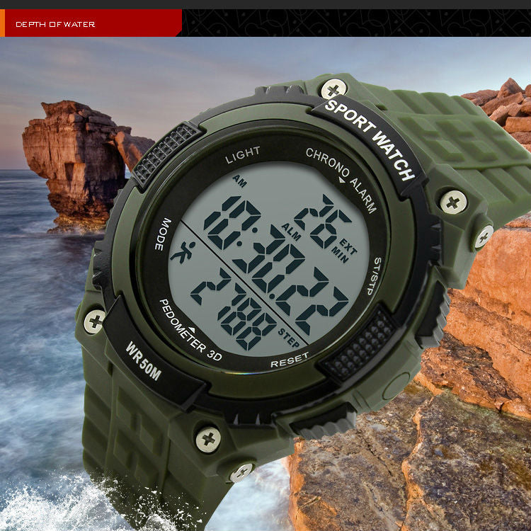 LED 50M Waterproof Digital Pedometer Wristwatches Chronograph Military Army