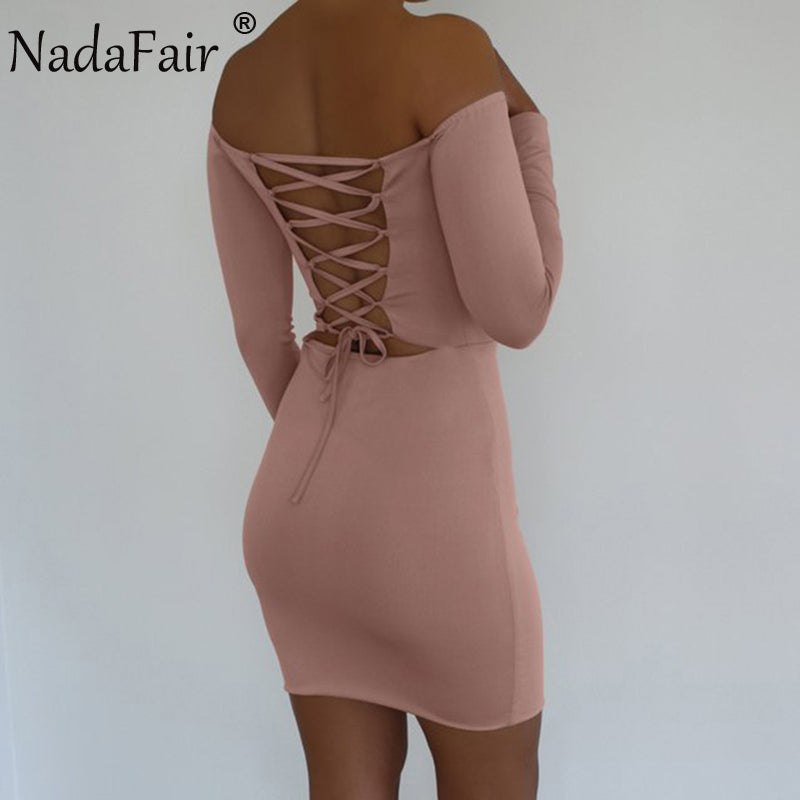 Slash Neck Off Shoulder Lace-Up Backless SkinnyDress