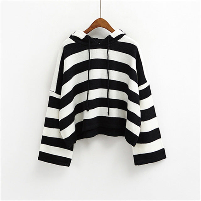 Women Pullovers Loose Strip Hooded Sweater