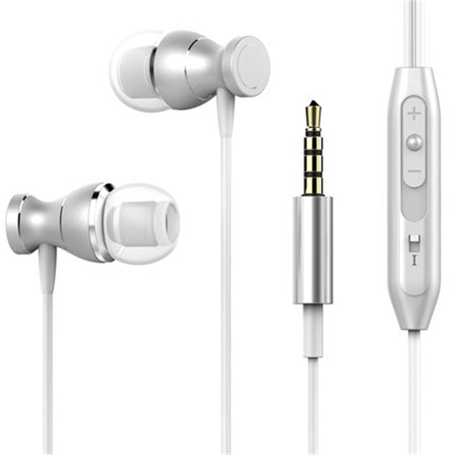 Metal Magnetic Sport Running Earphone  With Mict For Mobile  PC