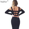 Long Sleeve Bandage Off  Shoulder Backless Midi Bodycon Women Dress