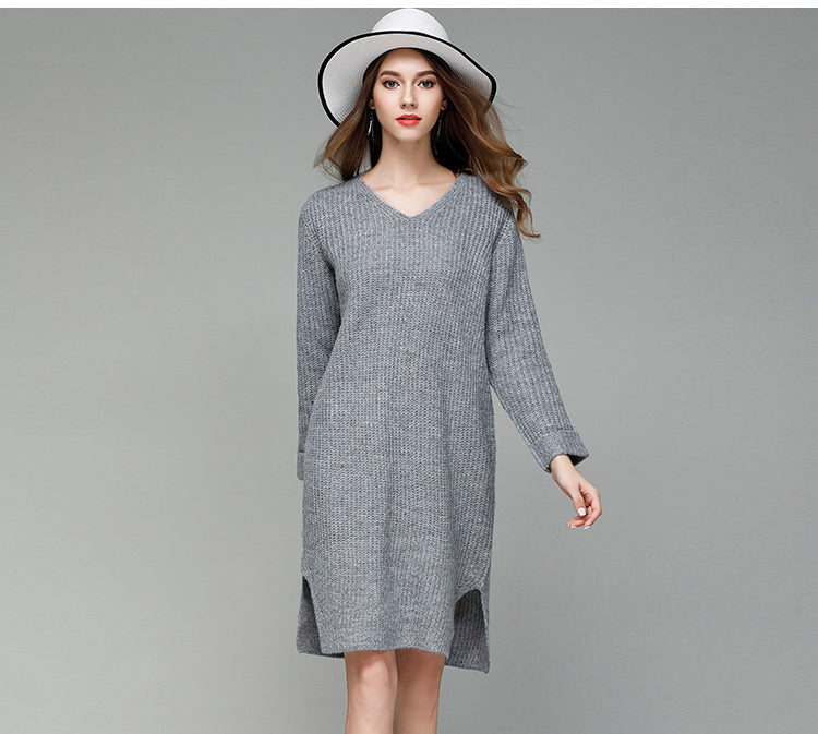 Elastic Knee-length Sweater Dress vestidos