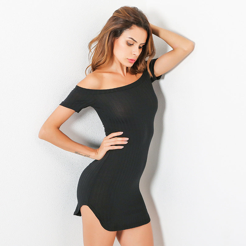 Off Shoulder Bodycon  Short Sleeve  Mini Dress - buyaddict