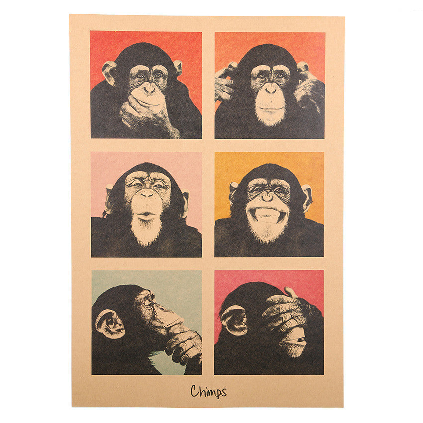 1Pcs Handmade Vintage Poster Gorilla Adornment Bar Counter Retro Kraft Paper Posters Movie Poster Wall Stickers Home Decor