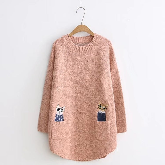 Women Long Sleeve  Cat Sweater