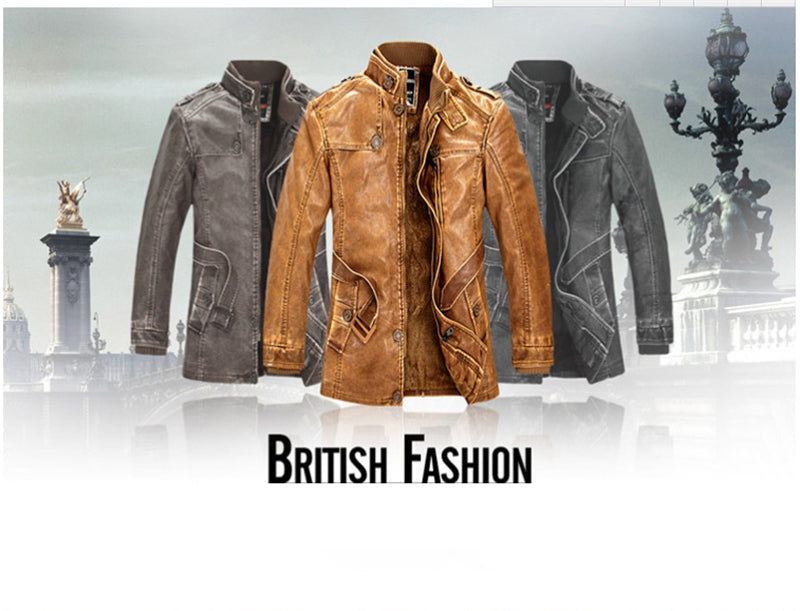 New Leather Jackets Homme Thicken Warm