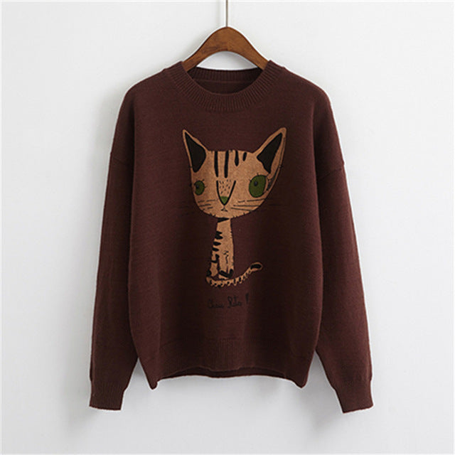 Women Sweater Korean Cartoon Cat