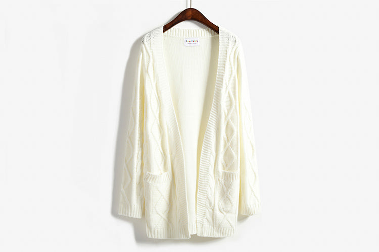 Women Sweater Twist Korean Long-sleeved Cardigan