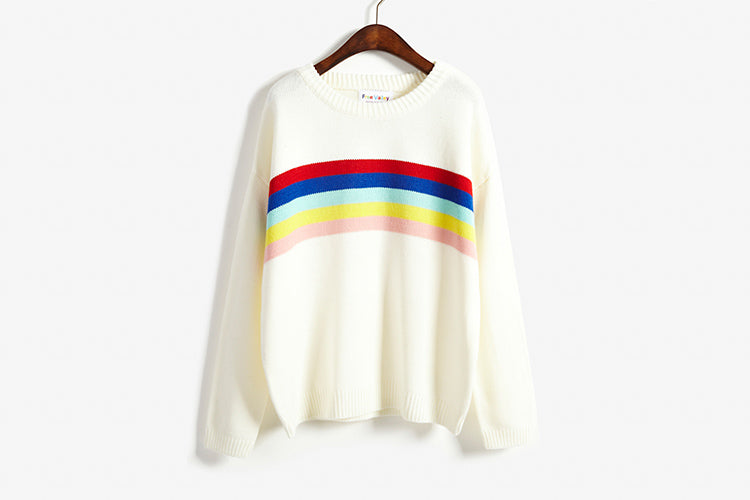 Women Rainbow Pullovers Sweater