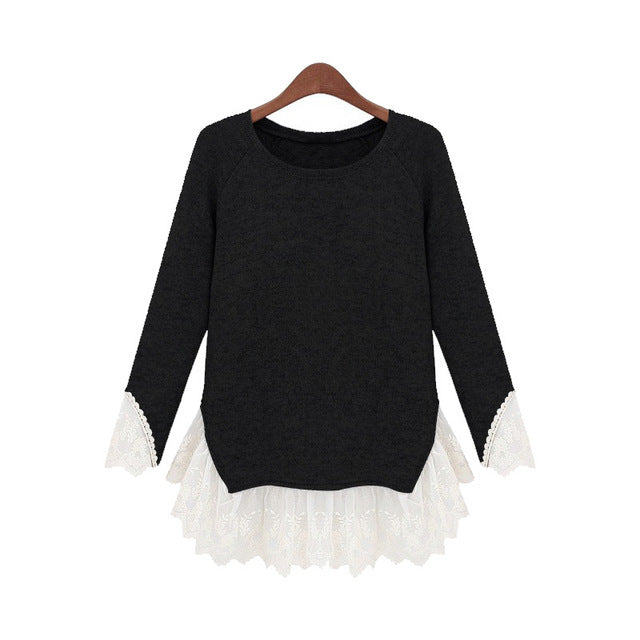 Fashion Lace Patchwork Elegant Top Tees Female Loose - buyaddict