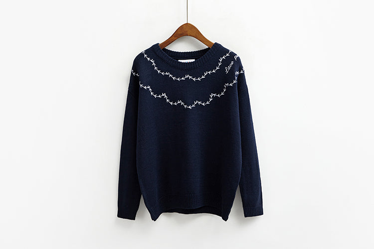 Women Korean Fashion Embroidery Sweater