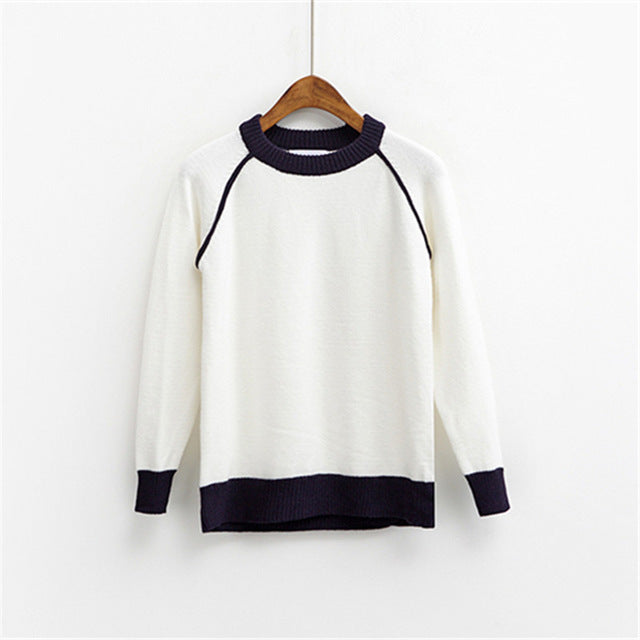 Korean Warm women Sweater Contrast-color - buyaddict